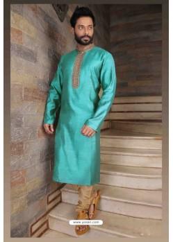 Awesome Sky Blue Slub Silk Kurta pajama For Men