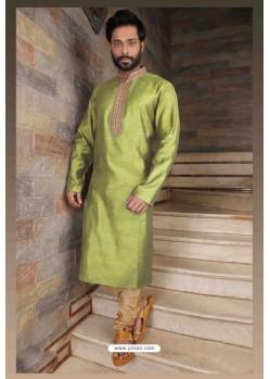 Classy Parrot Slub Silk Kurta pajama For Men