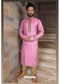 Trendy Pink Slub Silk Kurta pajama For Men