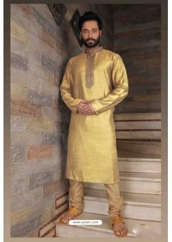 Fabulous Light Cream Slub Silk Kurta pajama For Men