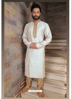 Glossy White Slub Silk Kurta pajama For Men