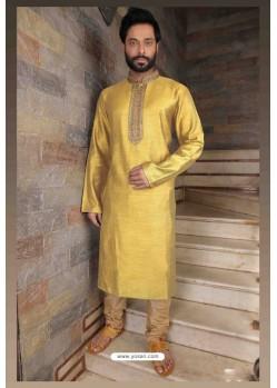 Classy Yellow Slub Silk Kurta pajama For Men