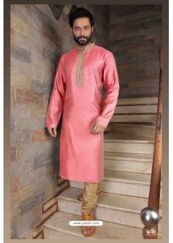 Awesome Pink Slub Silk Kurta pajama For Men