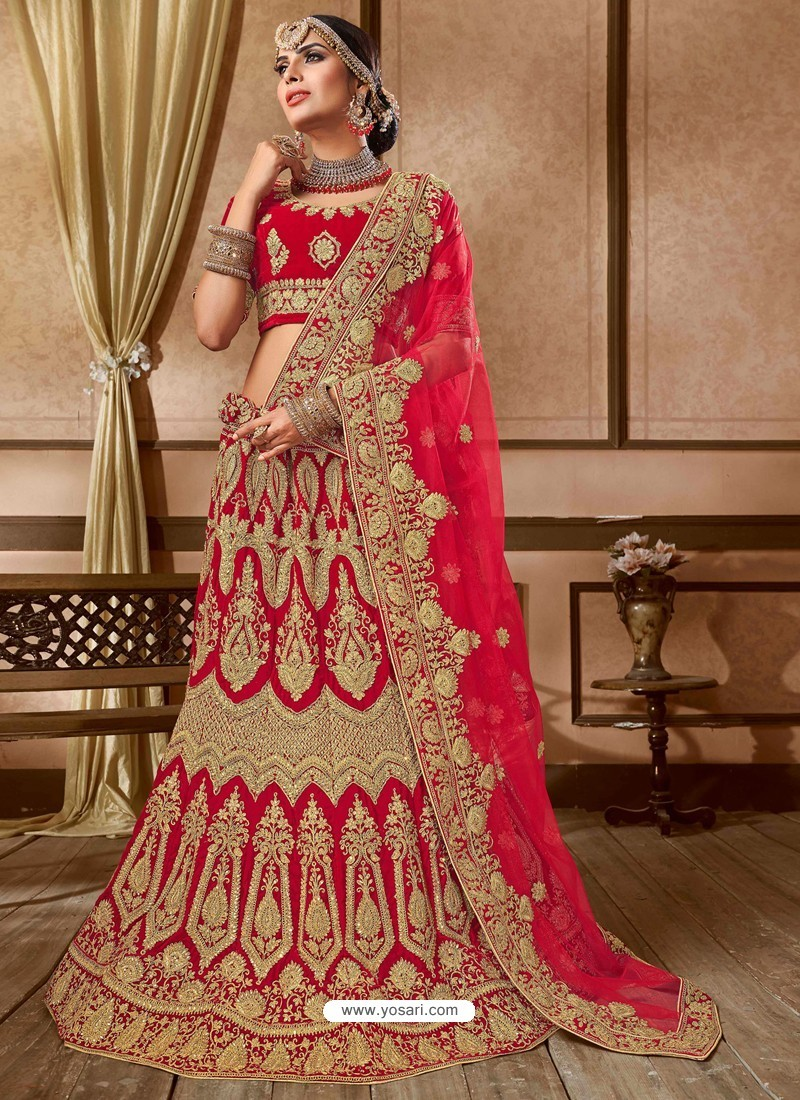 b0625ffa02 Buy Fabulous Red Velvet Embroidery Designer Lehenga Choli | Designer ...
