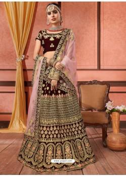 Ravishing Maroon Velvet Embroidery Designer Lehenga Choli