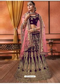 Scintillating Purple Velvet Embroidery Designer Lehenga Choli