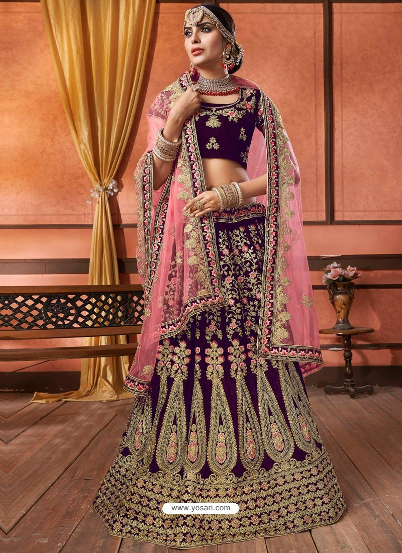 3d7c15a441 Buy Scintillating Purple Velvet Embroidery Designer Lehenga Choli ...