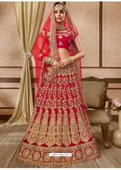 Awesome Red Velvet Embroidery Designer Lehenga Choli