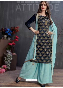 Navy And Sky Blue Heavy Georgette Satin Palazzo Suit