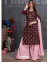 Deep Wine And Pink Heavy Georgette Satin Palazzo Suit