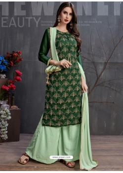 Dark And Sea Green Heavy Georgette Satin Palazzo Suit