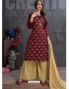 Maroon And Beige Heavy Georgette Satin Palazzo Suit