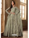 Olive Green Net Embroidered Designer Anarkali Suits