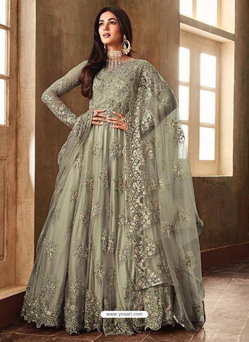 d48540bf49 Buy Olive Green Net Embroidered Designer Anarkali Suits   Anarkali Suits