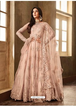 Baby Pink Net Embroidered Designer Anarkali Suits