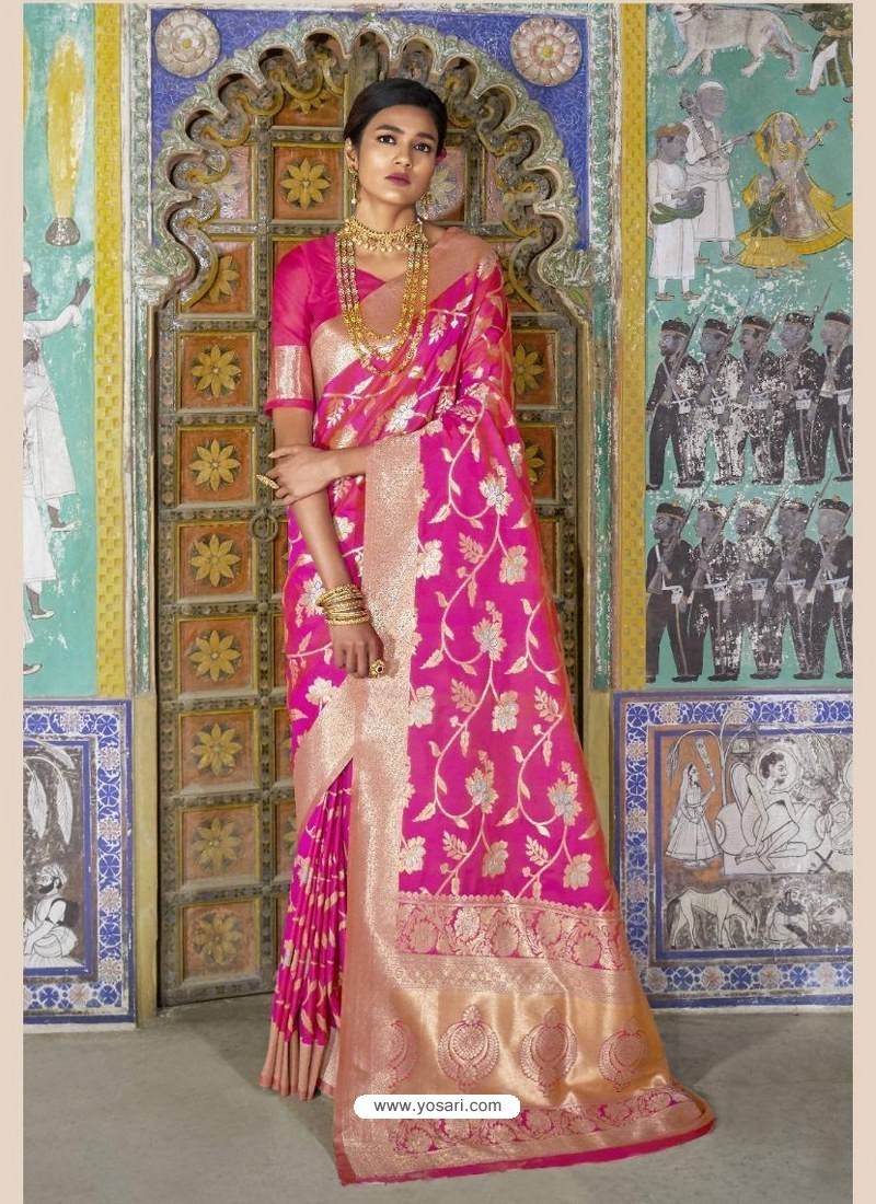 758a09291ed807 Buy Dashing Pink Weaving Silk Wedding Party Wear Saree | Wedding Sarees