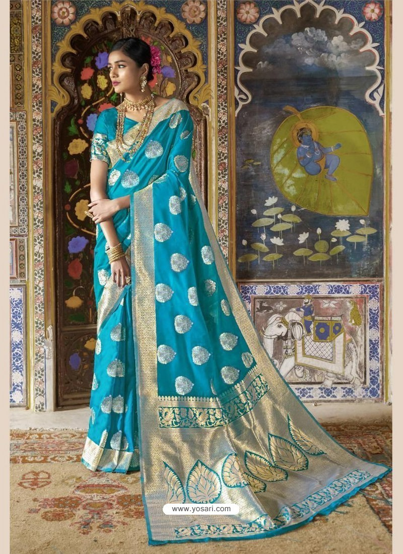 c4361fc903 Buy Fabulous Sky Blue Cream Weaving Silk Wedding Party Wear Saree ...