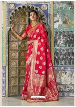 269ea10104b34 Classy Red Weaving Silk Wedding Party Wear Saree