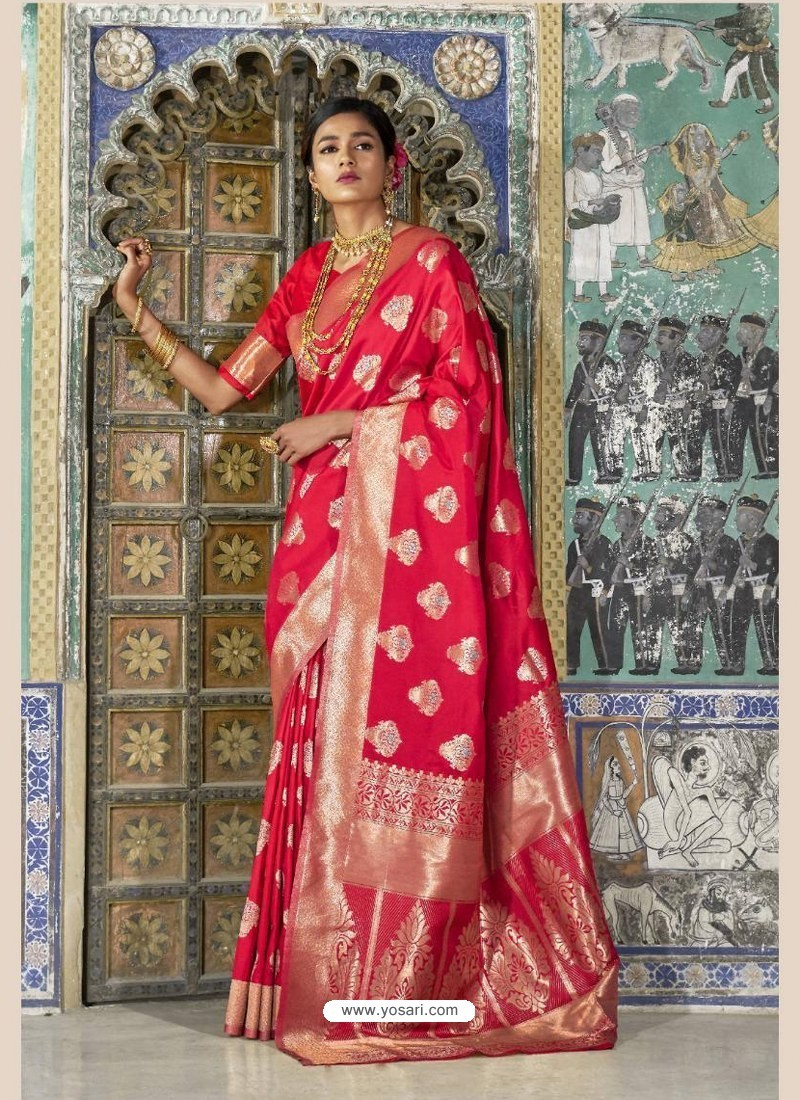 3a5ff3299c Buy Classy Red Weaving Silk Wedding Party Wear Saree | Wedding Sarees