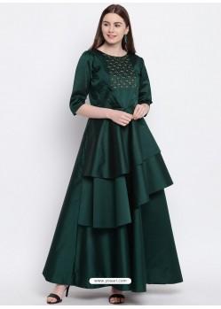 Trendy Dark Green Heavy Taffeta Party Wear Gown