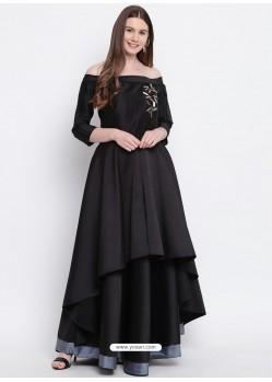 Sizzling Black Heavy Taffeta Party Wear Gown