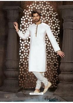 Awesome White Cotton Kurta Pajama For Men