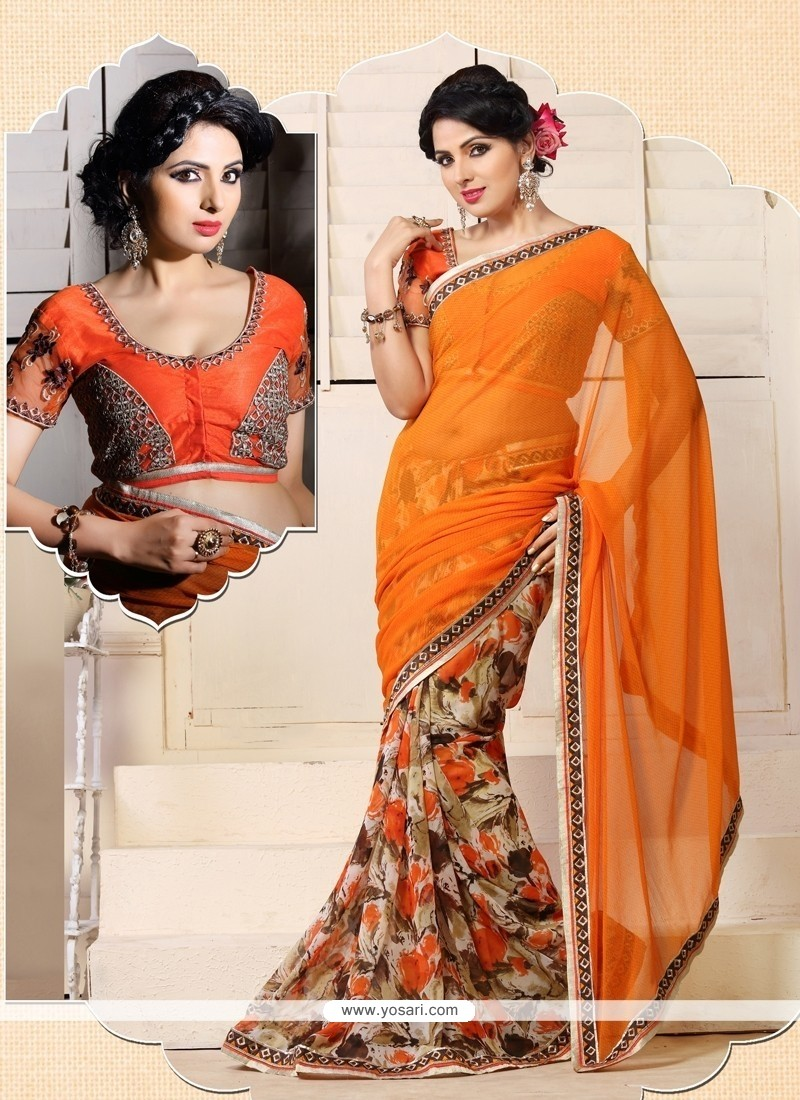Modish Orange Chiffon Printed Casual Saree
