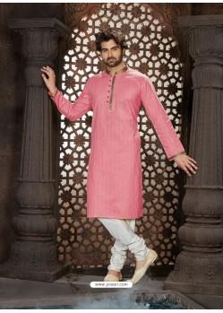 Classy Light Pink Cotton Kurta Pajama For Men