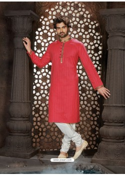 Trendy Red Cotton Kurta Pajama For Men