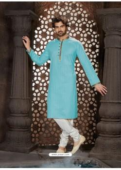 Dashing Sky Blue Cotton Kurta Pajama For Men
