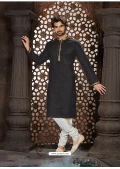 Fabulous Black Cotton Kurta Pajama For Men