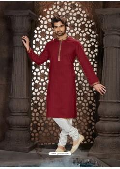 Glossy Maroon Cotton Kurta Pajama For Men