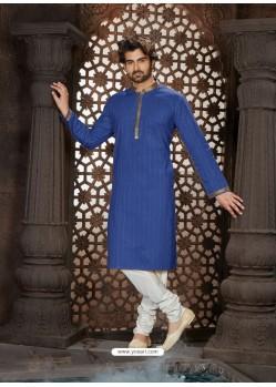 Classy Blue Cotton Kurta Pajama For Men