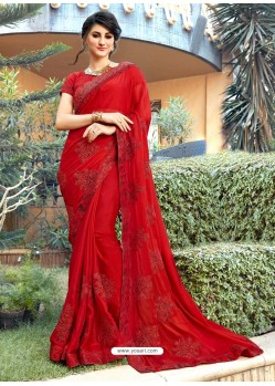 Classy Red Georgette Party Wear Saree