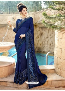 Awesome Navy Blue Georgette Party Wear Saree