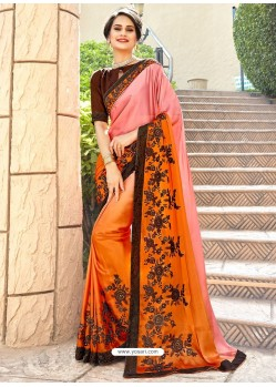 Classy Orange Georgette Party Wear Saree