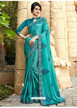 Trendy Teal Georgette Party Wear Saree
