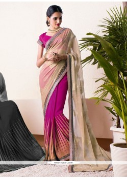 Beige And Pink Shaded Chiffon Half And Half Saree