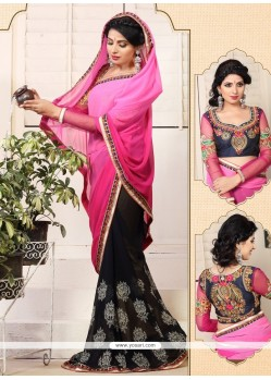 Pink And Black Weight Less Casual Saree