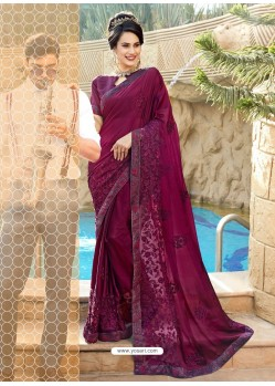 Dashing Wine Georgette Party Wear Saree