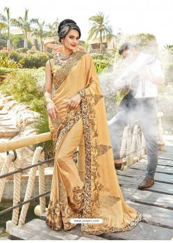 Fabulous Beige Cream Georgette Party Wear Saree