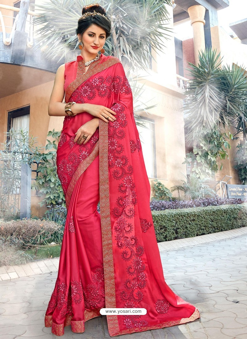 Glossy Pink Georgette Party Wear Saree