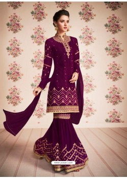Fabulous Purple Designer Sharara Suit