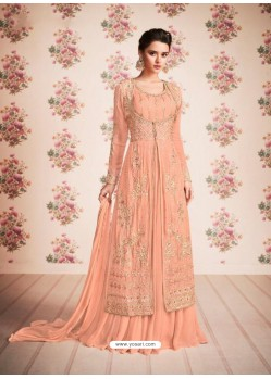Ravishing Peach Embroidered Anarkali Suit