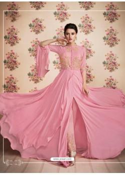 Scintillating Pink Front Cut Designer Suit
