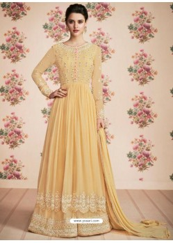 Marvellous Yellow Anarkali Designer Suit