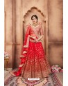 Awesome Red Heavy Embroidered Party Wear Lehenga Choli