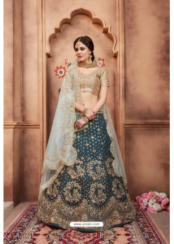 Trendy Teal Blue Heavy Embroidered Party Wear Lehenga Choli