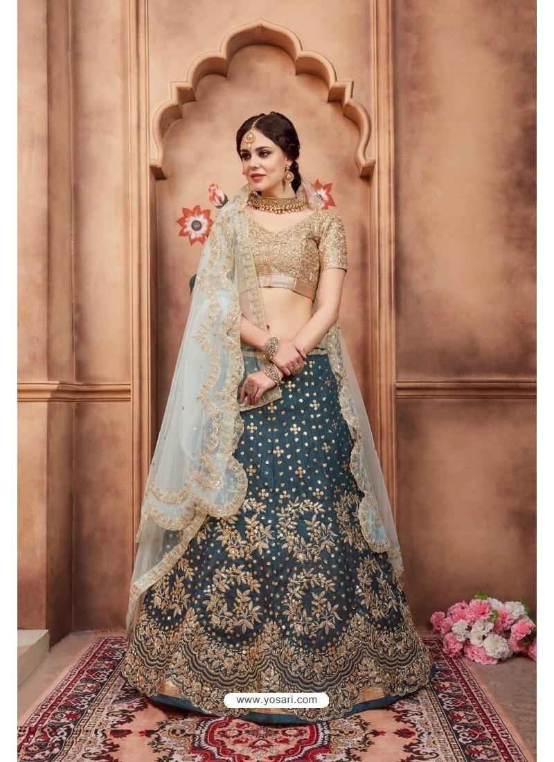 7edd3b68a3 Buy Trendy Teal Blue Heavy Embroidered Party Wear Lehenga Choli ...