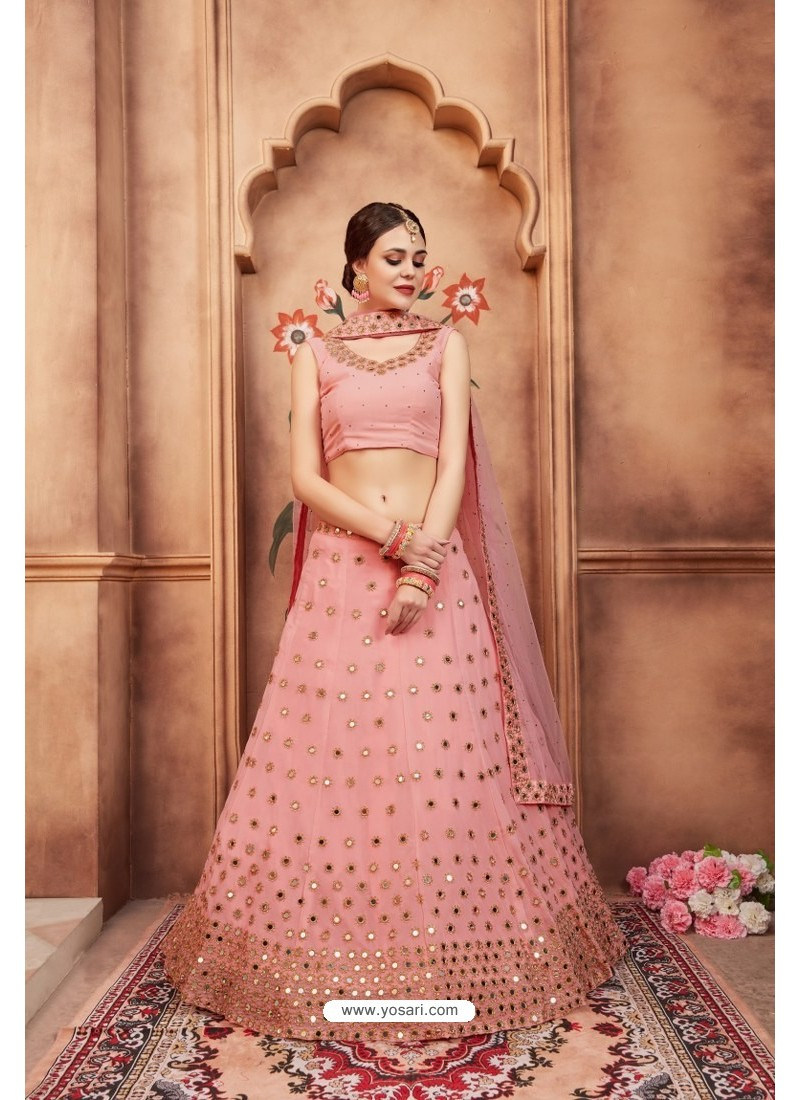 5fc33af514 Buy Baby Pink Fabulous Maroon Heavy Embroidered Party Wear Lehenga ...